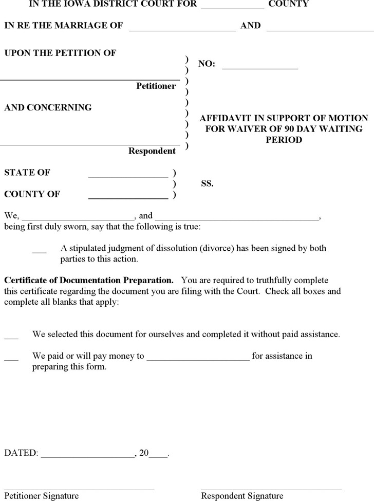 Iowa Affidavit in Support of Motion of Waiver of 90 day Period Form