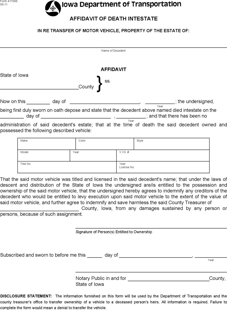 Iowa Affidavit of Death Intestate Form