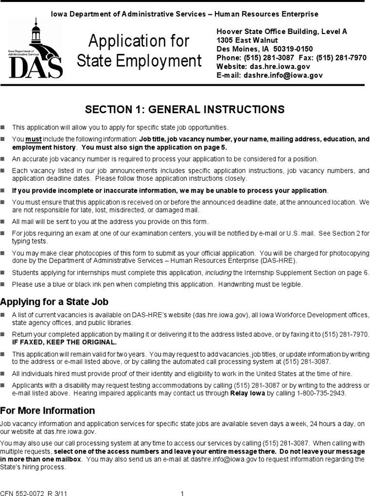 Iowa Application for State Employment