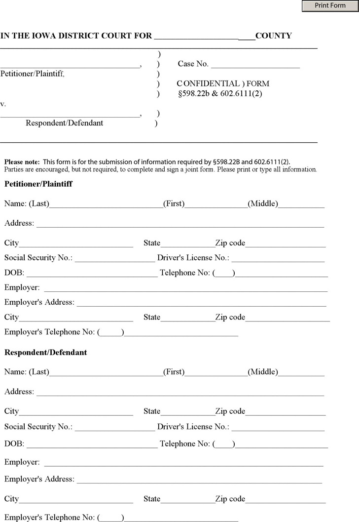Iowa Confidential Information Sheet