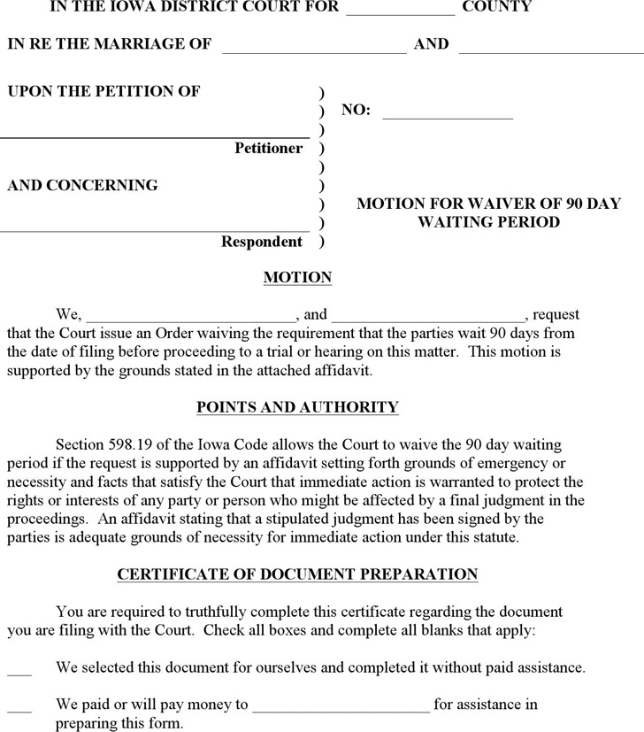 Iowa Motion of Waiver of 90 Day Waiting Period Form