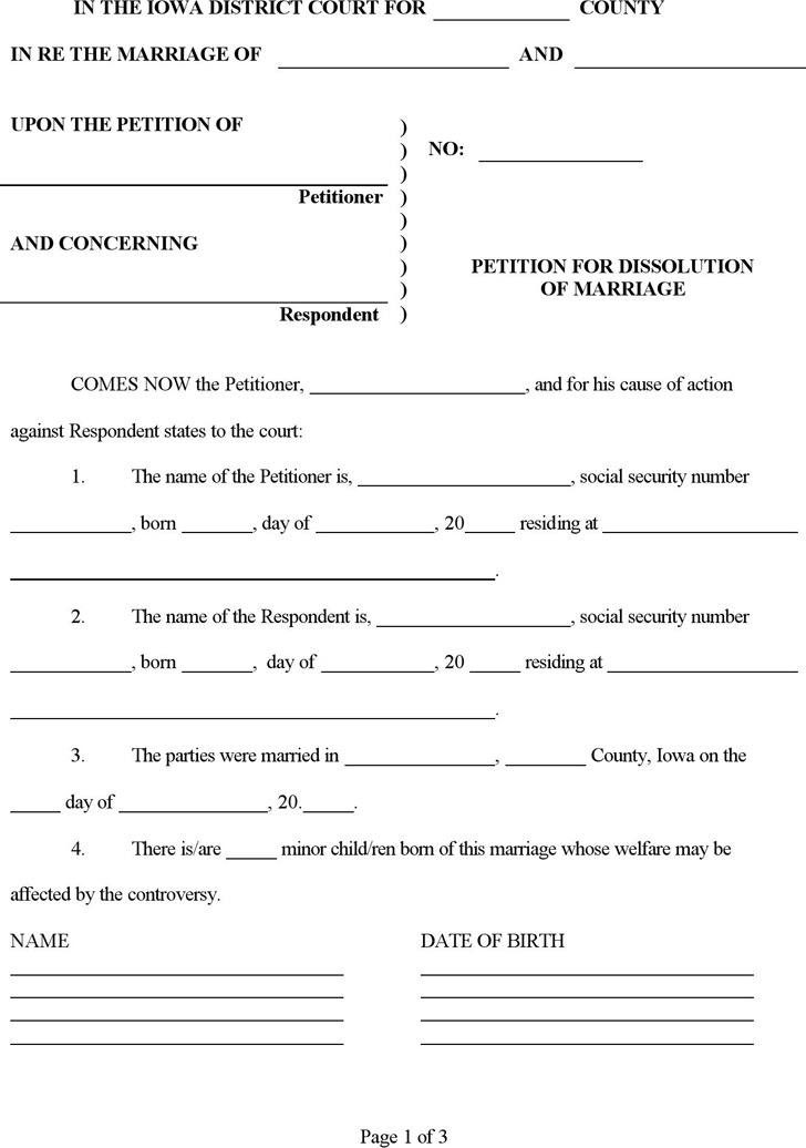 Iowa Divorce Papers | Download Free & Premium Templates, Forms