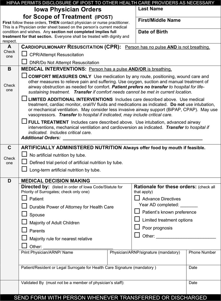 Iowa Physician Orders For Scope of Treatment (POST) Form