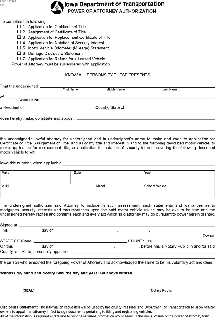 Iowa Power of Attorney Authorization Form
