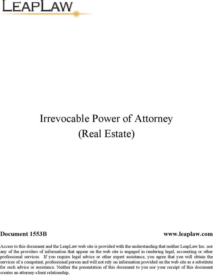 Irrevokable Power of Attorney Form