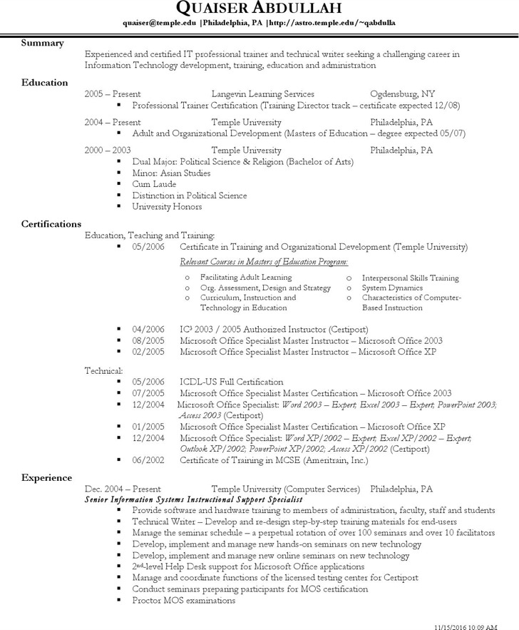 Technical Resume Template  Resume Templates And Resume Builder