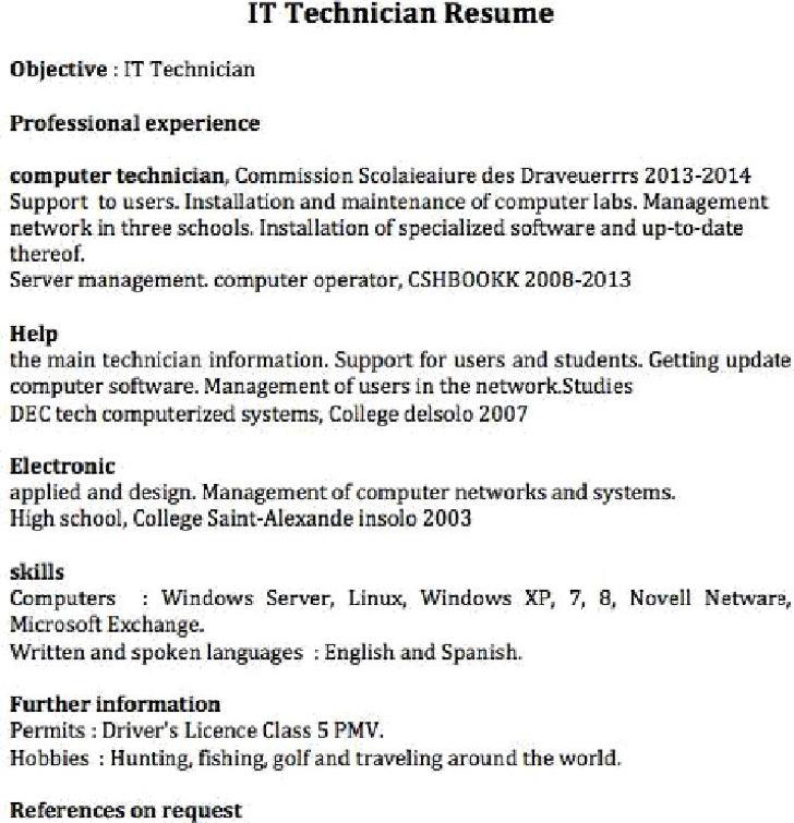 it technician resume - Computer Technician Resume