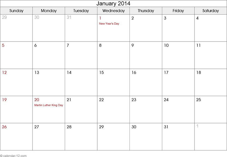 January 2014 Calendar 1
