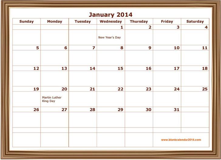 January 2014 Calendar 3