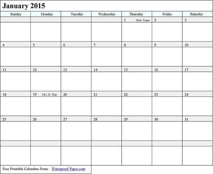 January 2015 Calendar 2