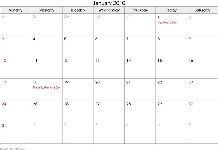January 2016 Calendar 1