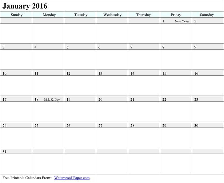 January 2016 Calendar 3