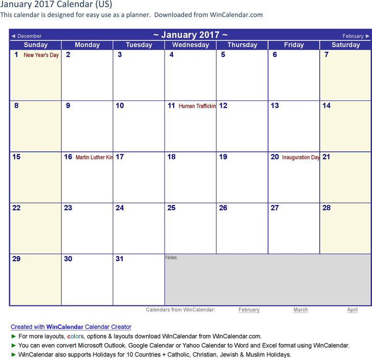 January 2017 Calendar 1