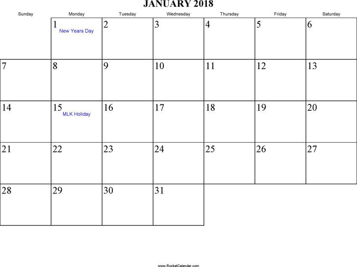 January 2018 Calendar 3