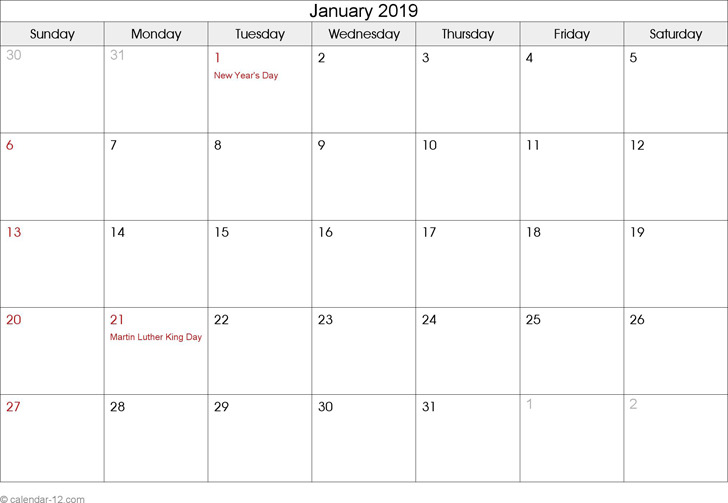 January 2019 Calendar 2