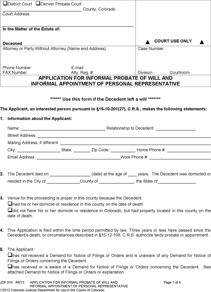 JDF 910 - Application for Informal Probate of Will and Informal Appointment of Personal Representative