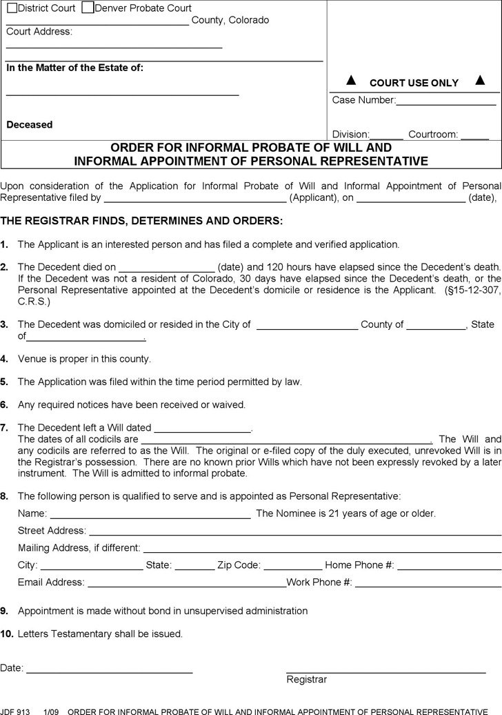 JDF 913 - Order for Informal Probate of Will and Informal Appointment of Personal Representative