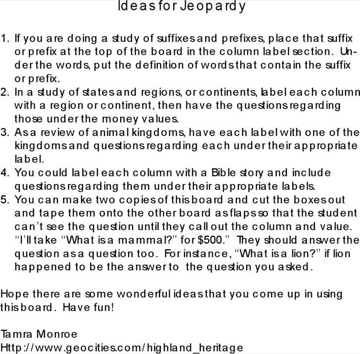 Jeopardy Board Blank