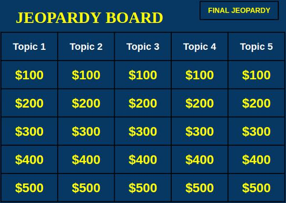 Jeopardy Game Google Slide Template