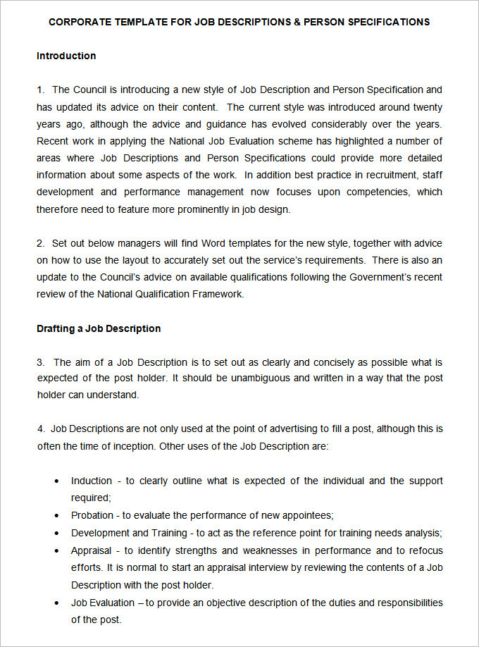 Job Description and Person Specification Template