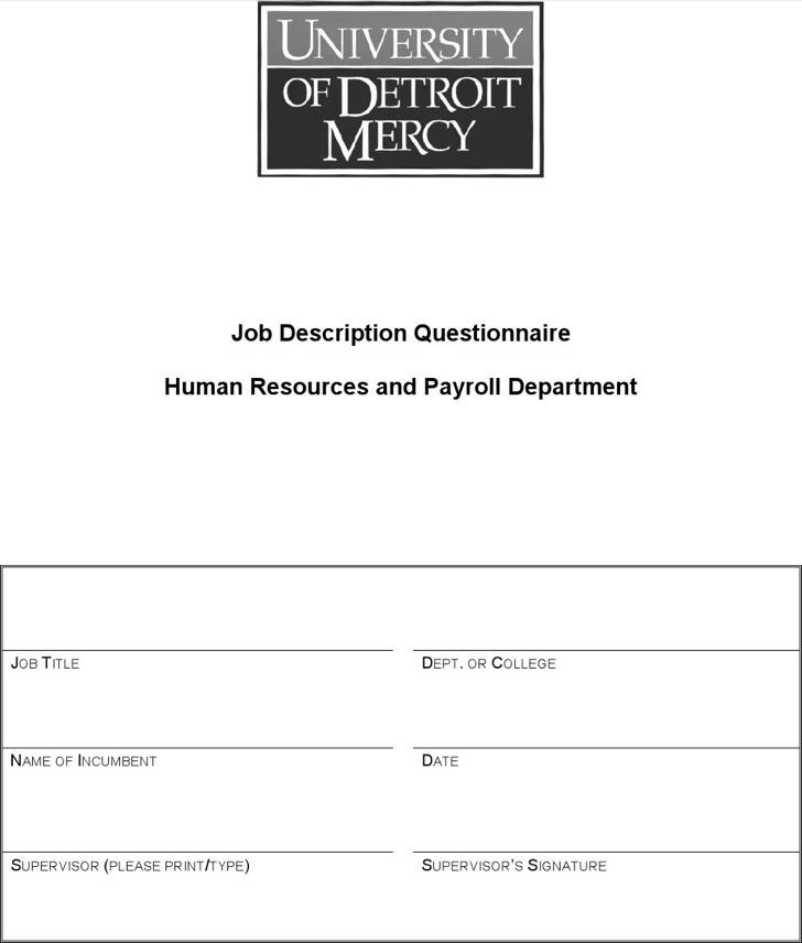 Job Description Questionnaire Human Resources