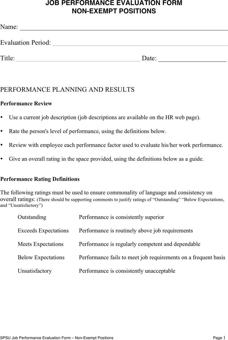 Job Performance Evaluation 1