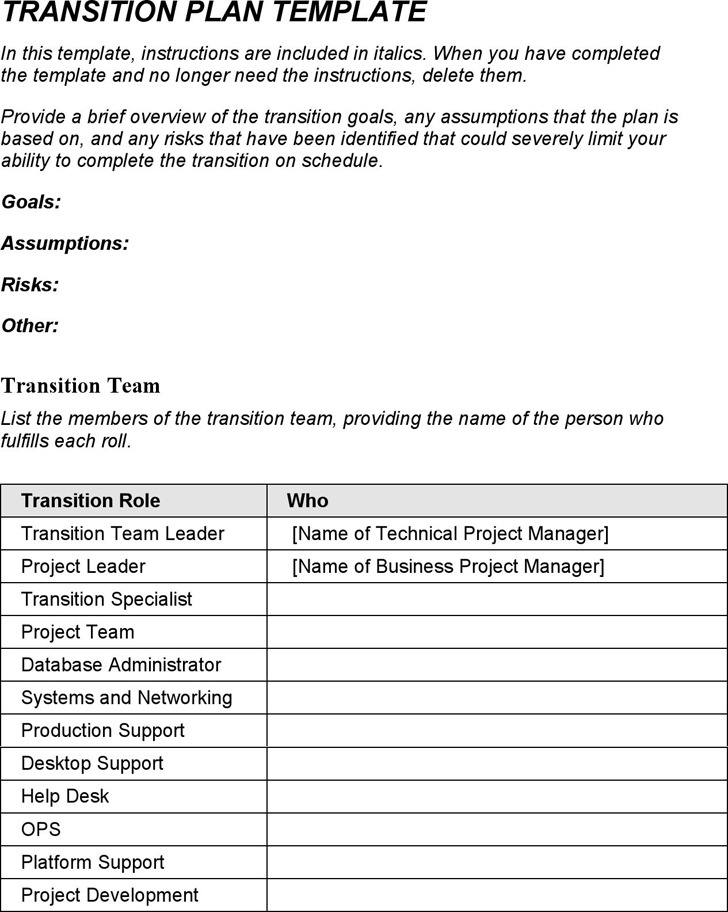 Job Transition Plan Template
