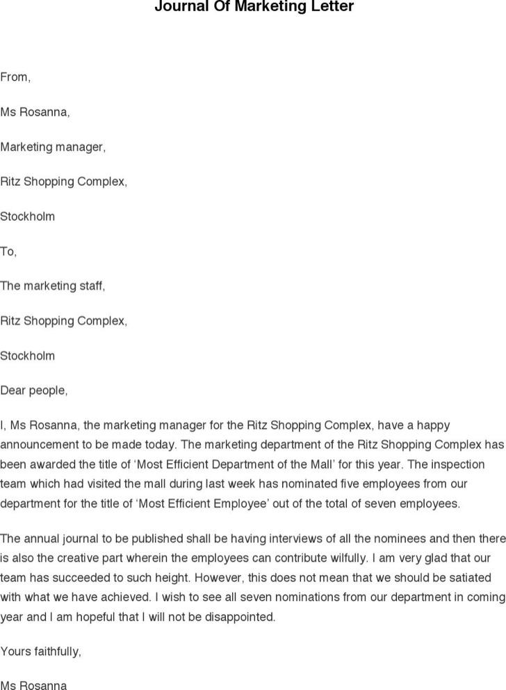 Journal Of Marketing Letter
