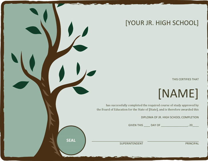 Jr. High School Diploma (With Tree)