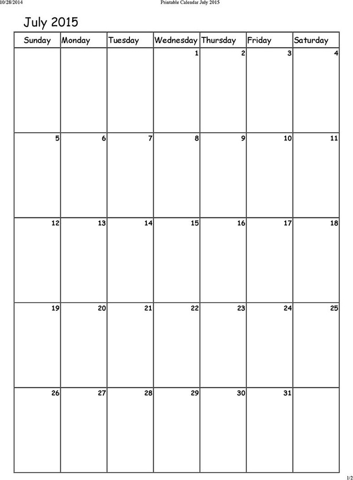 July 2015 Calendar 1