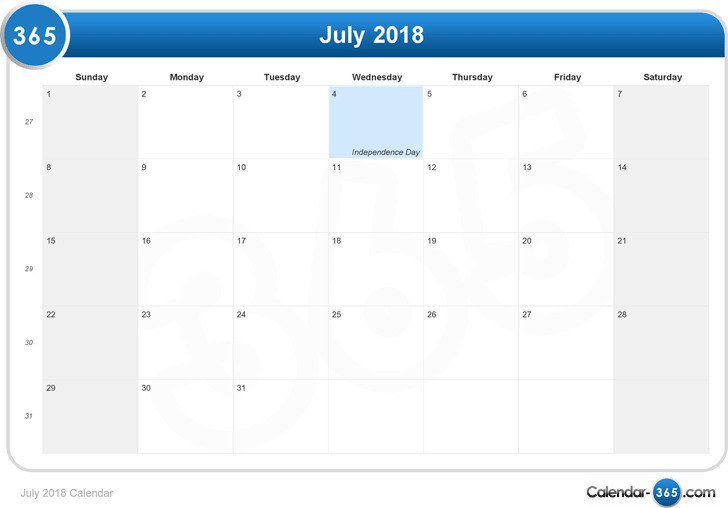 July 2018 Calendar 3