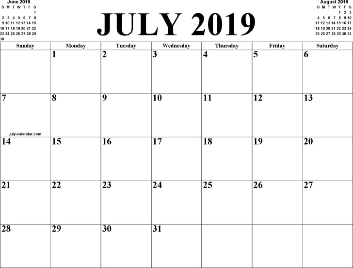 July 2019 Calendar 3