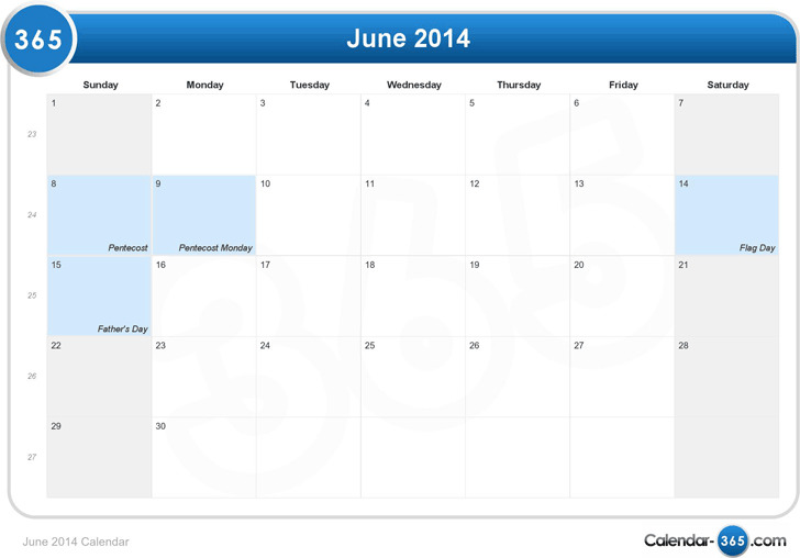June 2014 Calendar 1