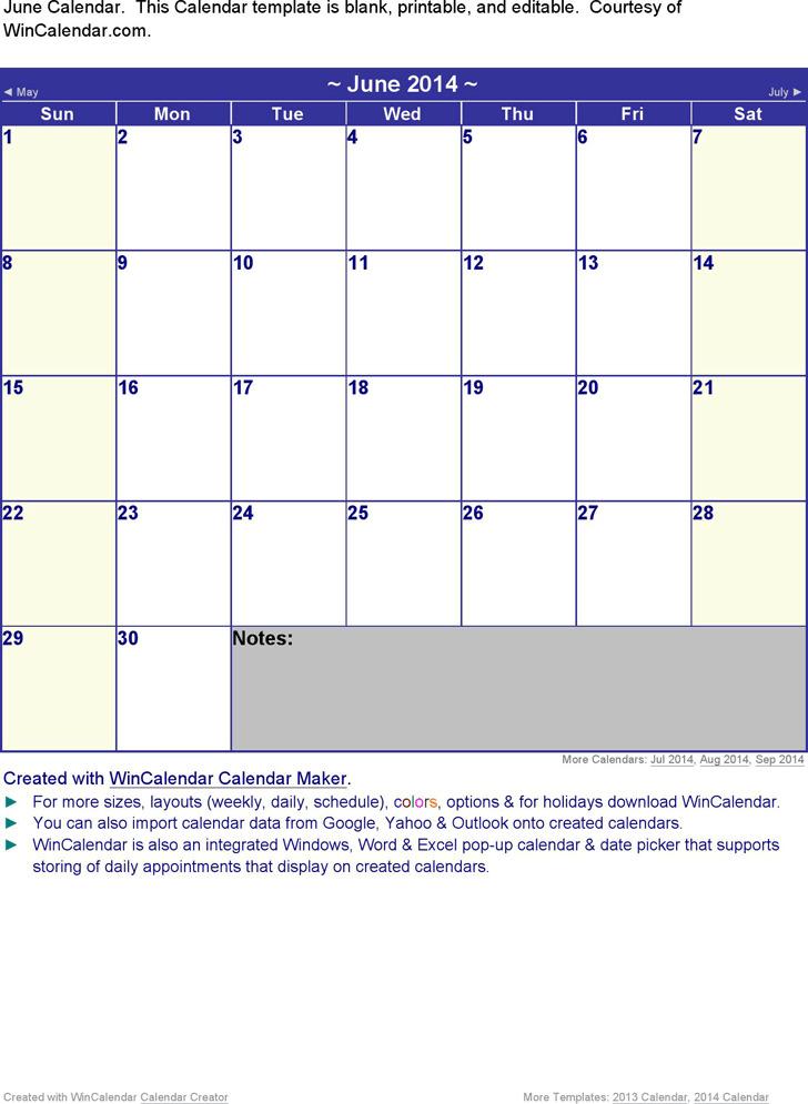 June 2014 Calendar 3