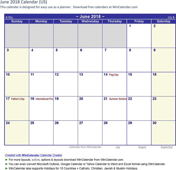 June 2018 Calendar 1