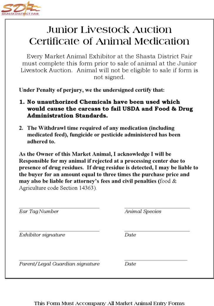 Junior Livestock Auction Certificate Of Animal Medication