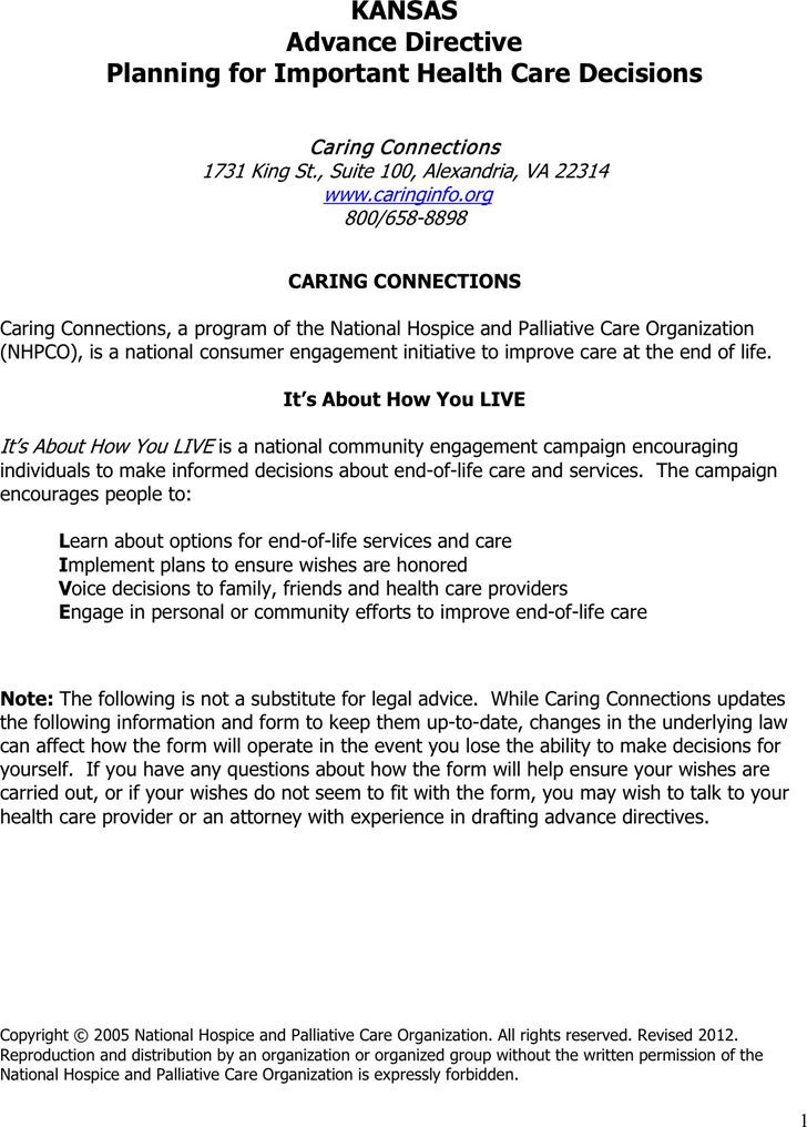 Kansas Advance Health Care Directive Form