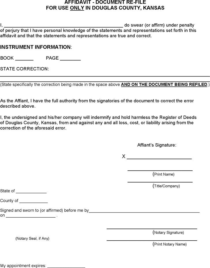 Kansas Affidavit Document Re-File Form