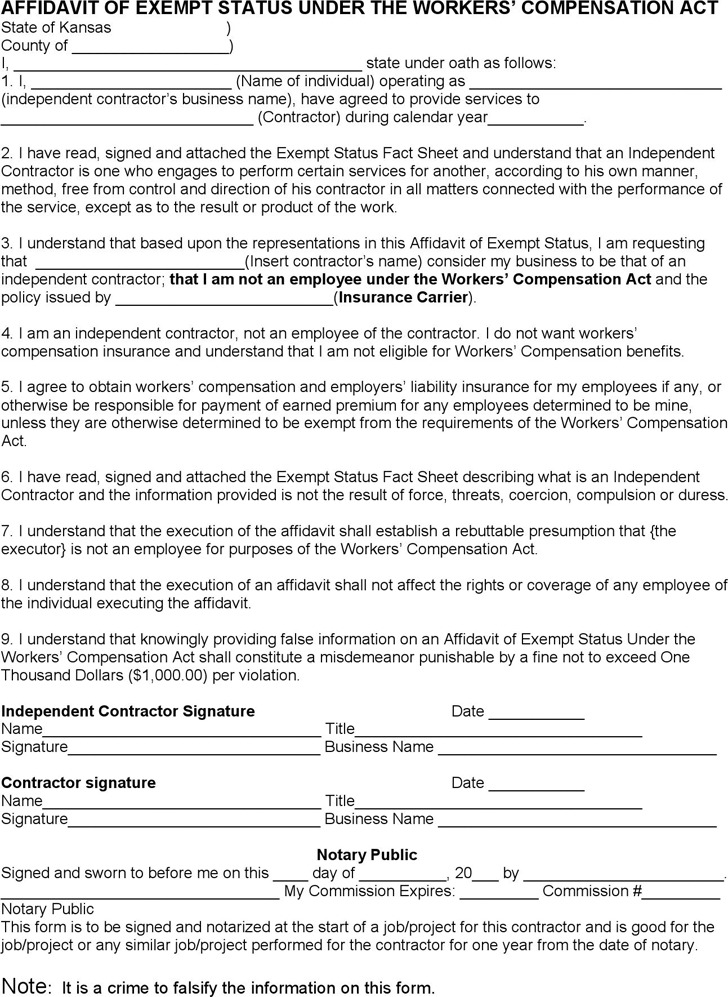 Kansas Affidavit of Exempt Status Under the Workers' Compensation Act Form