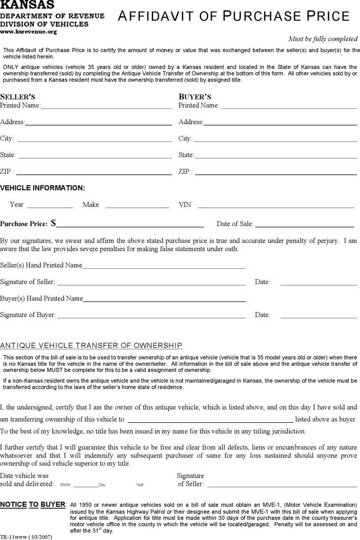 Kansas Affidavit of Purchase Price Form