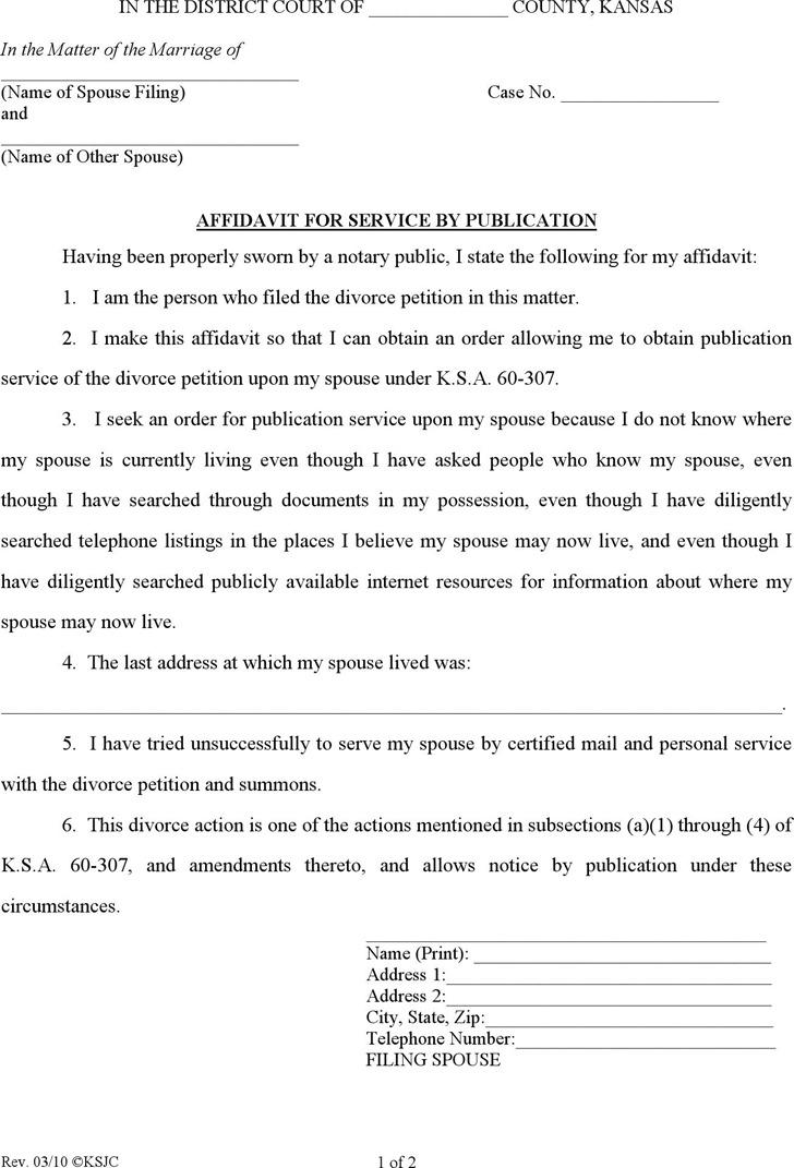 Kansas Affidavit of Service by Publication Form