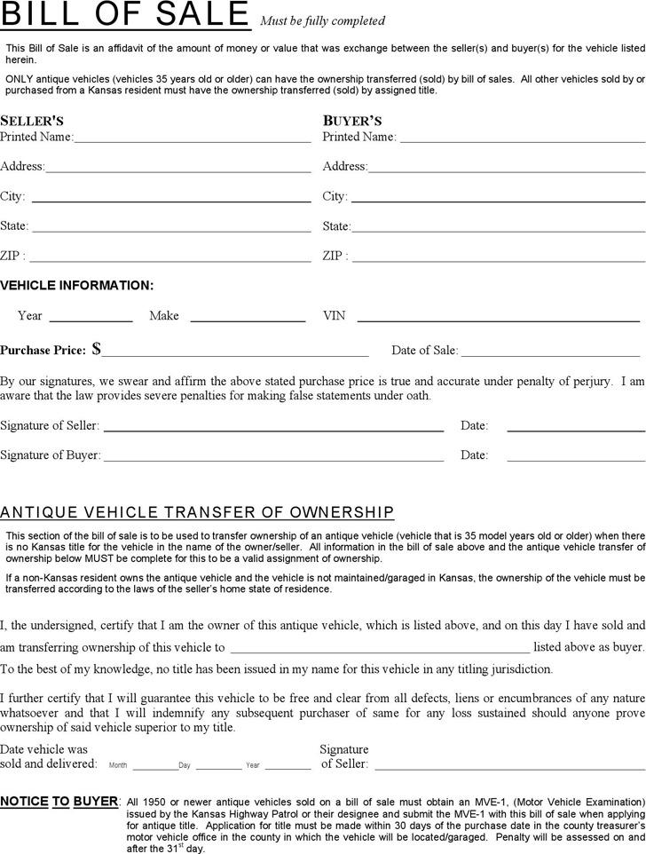 Kansas Dmv Bill of Sale