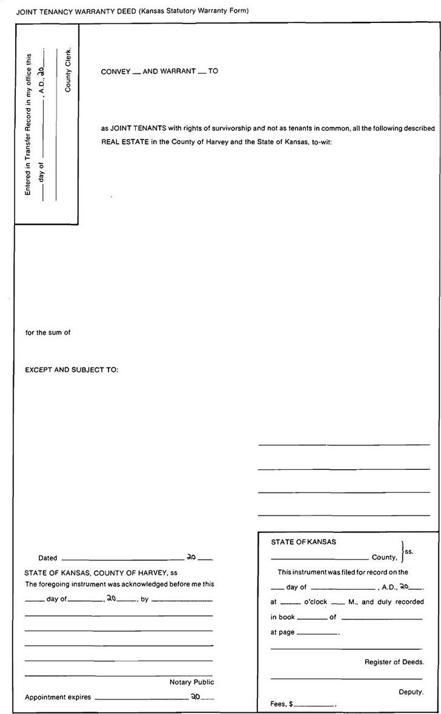 Kansas Joint Tenancy Warranty Deed