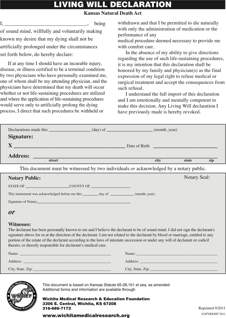 kansas advance directive form download free premium templates forms samples for jpeg png. Black Bedroom Furniture Sets. Home Design Ideas