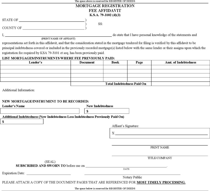 Kansas Mortgage Registration Fee Affidavit Form