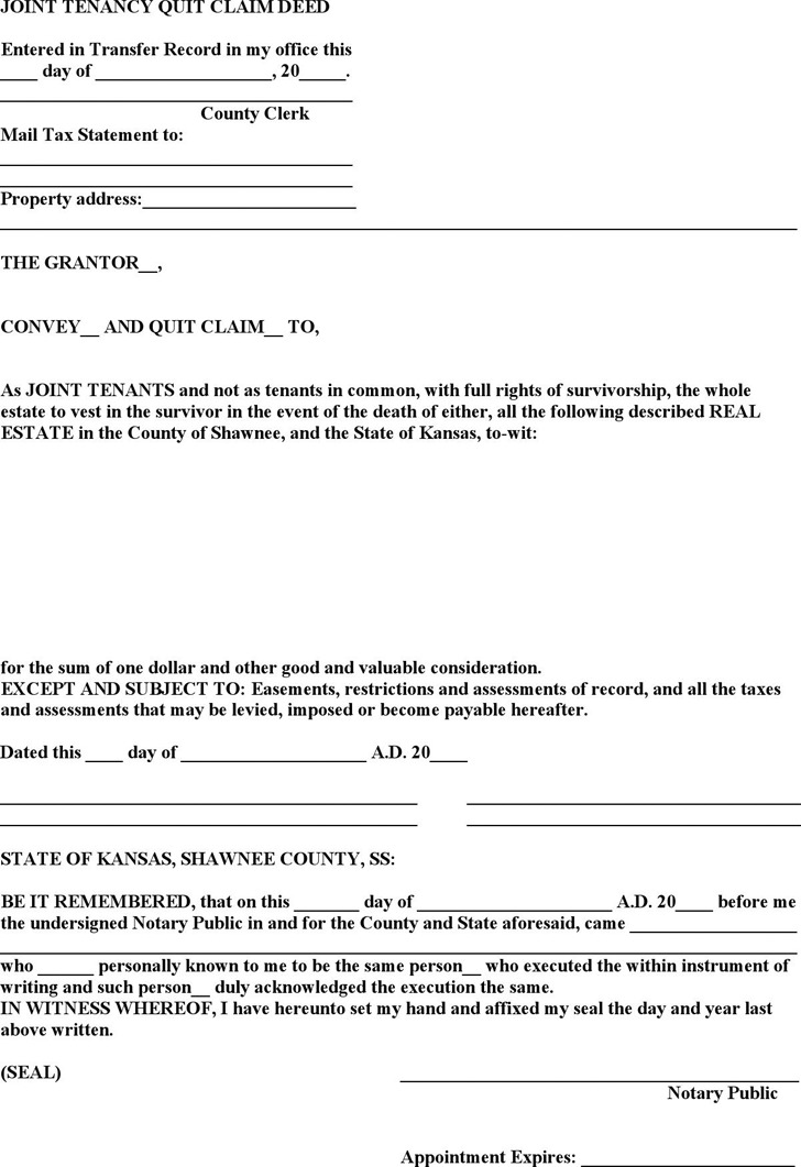 kansas quit claim deed Kansas Quitclaim Deed Form | Download Free