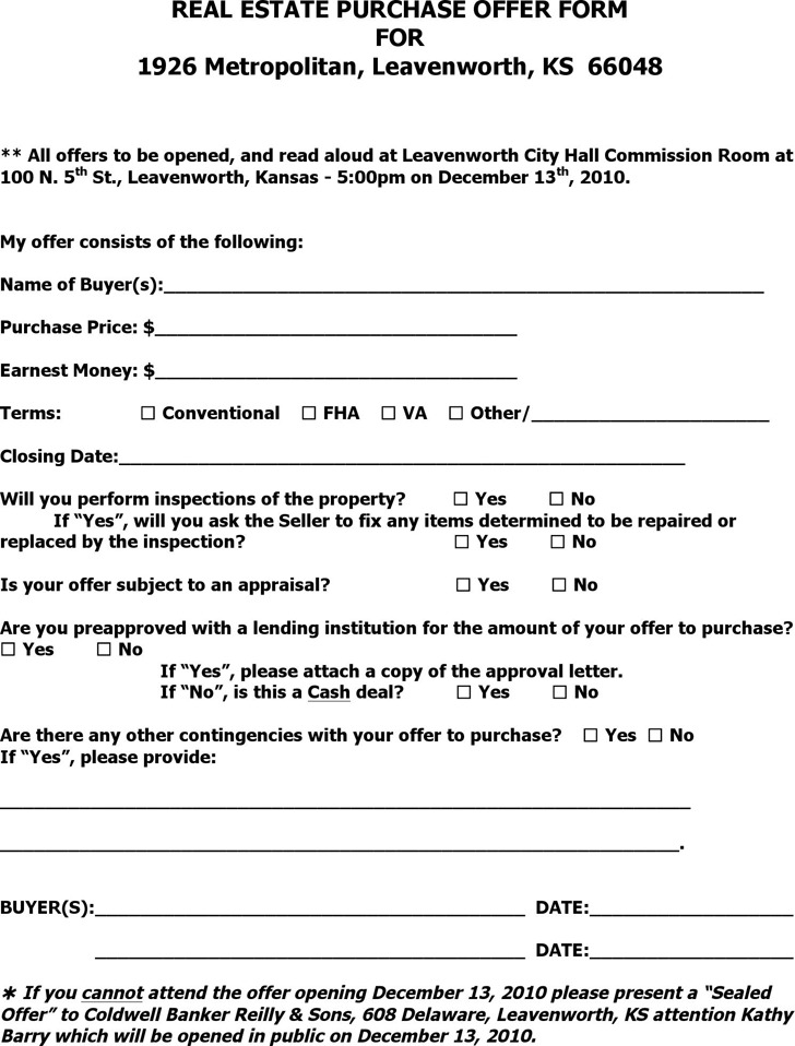 Kansas Real Estate Purchase Offer Form