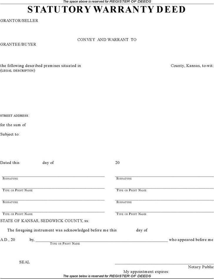 Kansas Statutory Warranty Deed (Sedgwick County)