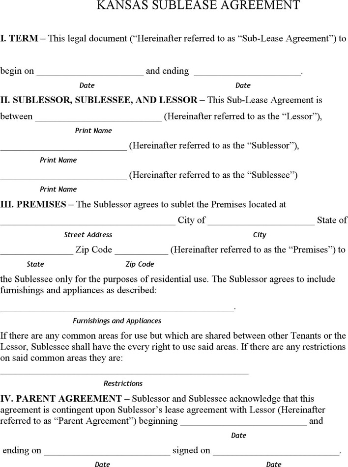 Kansas Sublease Agreement Form
