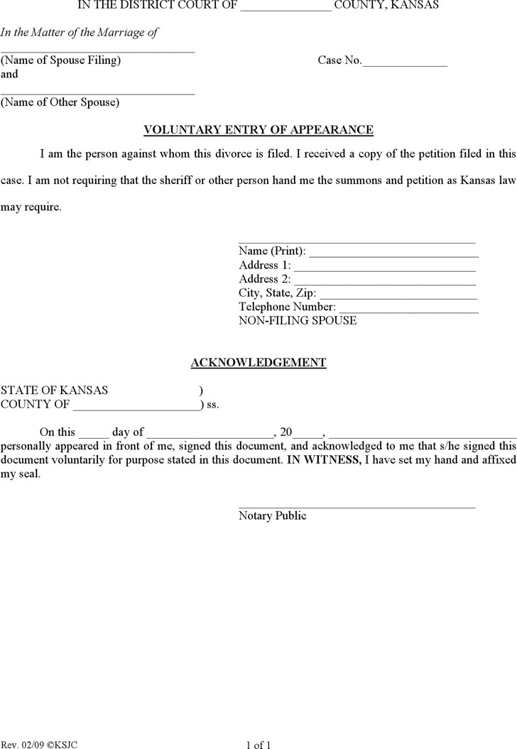 Kansas Voluntary Entry of Appearance Form